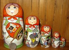 Russian 5 nesting dolls Fairy tale TEREMOK Fly Frog Mouse Rabbit Fox Wolf Bear