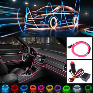 2M Pink Car LED EL Wire Light Strip Interior Atmosphere Glow Neon Lamp Decor