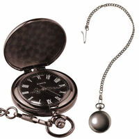 Pocket Watch On Chain - Antique Style Matte Classical Traditional Time Piece