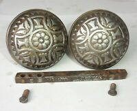 Pair of Antique Vintage Eastlake Victorian Ornate Door Knobs w/ Spindle