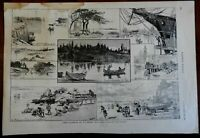 Kennebunk Maine Kennebunk River Old Orchard Beach 1887 Fenn old print
