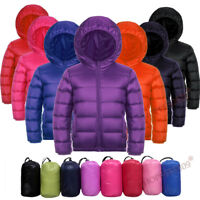 Kids Boys Girls 90% White Duck Down Puffer Ultra Light Jacket Coat Outwear 3-12Y