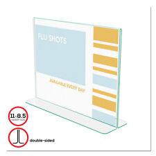 Deflecto Superior Image Premium Green Edge Sign Holder Acrylic 11 x 8 1/2 Clear
