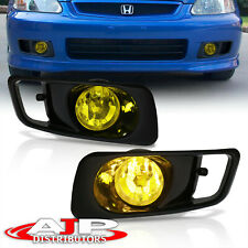 Amber Driving Bumper Fog Lights Lamps Wiring Switch For 1999 2000 Honda Civic