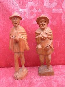 2 vecchio Figure Legno __ 2 Contadino _