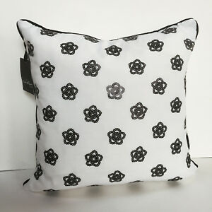 Nicole Miller BLACK WHITE Sequine DECO BED PILLOW flowers floral FEATHER Insert