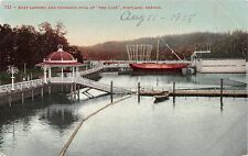 PORTLAND OREGON THE OAKS~BOAT LANDING~SWIMMING POOL~EDWRD MITCHELL POSTCARD 1908
