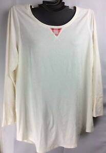 Cacique Holiday Pajama PJ Sleep Top Cotton Blend Lane Bryant Ivory Red Plaid New