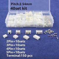 40 sets Kit in box 2p 3p 4p 5 pin 2.54mm Pitch Housing / Pin Header Kits H3E1