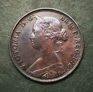 Extremely Collectable 1861 Victorian Half-Penny, 1/2d, Coin. Freeman 282.