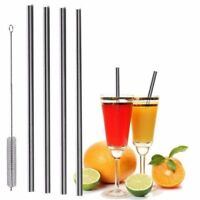 4 Straight Reusable Drinking Straws Metal Stainless Steel Eco-Friendly 10.5in