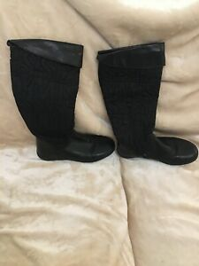 Miss Sixty Size 3 Knee High Boots Black Logo