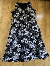 Ladies Bon Marche Size 22 Dress Black White Long Floral Dress Maxi Ladies