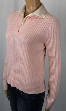 Ralph Lauren Pink Cable Knit Cashmere Sweater Silk Collar NWT