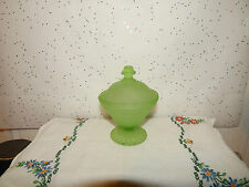 ANTIQUE VTG. DEPRESSION GREEN FROSTED GLASS w/LID~BLOCK OPTIC~ANCHOR HOCKING?