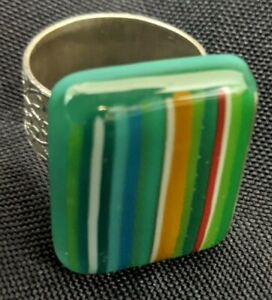 """HANDMADE GREEN RING GLASS FUSED STRIPED LOOK SILVER TONE METAL 1"""" ADJUSTABLE"""