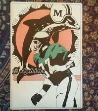 VINTAGE 1974 MIAMI DOLPHINS SIGN OLD LARGE 12X8 CARDBOARD FLEER NFL FOOTBALL