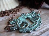 Keyhole Necklace, Verdigris Patina, Antique Copper, vintage style, Handmade