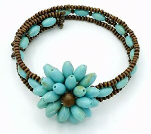 Marbled Acrylic Turquoise Sandalwood Flower Beaded Memory Wire Choker Necklace