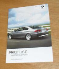 BMW SERIE 3 COUPE E92 listino prezzi OPUSCOLO M Sport 325i 320d 325d 330d 335d 2010