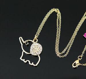 New Pendant Fashion Betsey Johnson Rhinestone Elephant Gold Necklace Women Gift