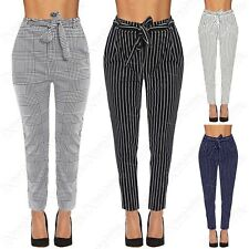 NEW LADIES CHECK STRIPE PRINT TIE WAIST CIGARETTE TROUSERS WOMENS LEGGINGS PANTS