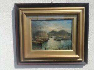 Salvatore Petruolo (Catanzaro, 1857 - Napoli 1942) olio tavola marina paesaggio