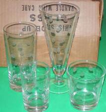 Vintage Set (4) Anchor Hocking COIN DOT Glasses Frosted Cut Polka Dots NOS NIB