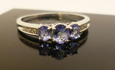 9ct white gold diamond and purple iolite dress ring and London hallmark 375