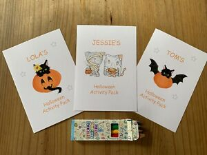 A6 Personalised Kids Halloween Activity Colouring Pack Trick or Treat Party Bag