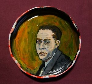 ALBERT CAMUS Jam Jar Lid Portrait, Litarary, New Orleans Outsider Art PETER ORR