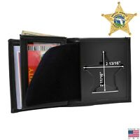 Perfect Fit Florida Sheriff Badge Wallet 5 Point Star Leather Black Bifold USA