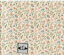 "Brodnax Prints ""Papillon - Peach"" 1FR110 Floral wallpaper dollhouse 1"" scale"