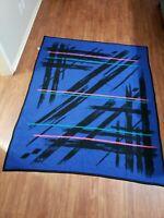 "Vintage San Marcos Miami Vice Blanket 58""x 74""  Black Blue pink Striped 80's"