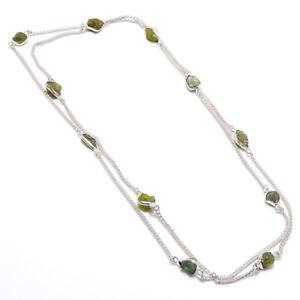 Peridot Rough Gemstone Handmade 925 Sterling Silver Jewelry Necklace 36 1641
