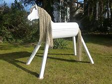 110cm Holzpferd Voltigierpferd Pferd Pony weiß mit Maul wetterfest !!