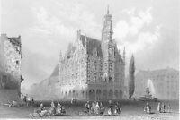 BELGIUM Town Hall of Audenard - Antique Print Engraving