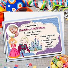 10 Personalised Princess and Super Hero's Birthday Party PHOTO Invitations N87
