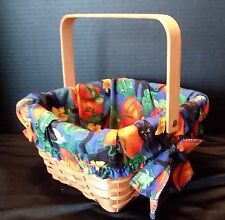 GRAND Basket Country Woven Collection Moveable Handle- Black Cat/Pumpkin Liner