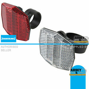 2 Pack - Front & Back Bicycle Reflector Set - Red & White Post Mounting Brackets