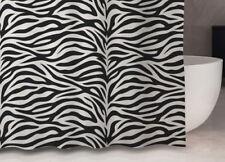 Rideau de douche en tissu noir blanc zèbre 120 x 200 cm avec anneaux cloison