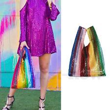 Ladies Rainbow Sequins Bag Glitter Handbag Shoulder Bag Gradient Ramp Clutch Bag