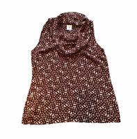 Cabi Cowl Neck Women's Small Sheer Sleeveless Top Blouse Maroon Geometric Print