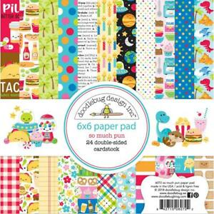 So Much Pun Fun Scrapbooking 6x6 inch Paper Pad Doodlebug 24 Sheets NEW