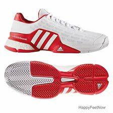 ADIDAS BARRICADE 2016 BOOST TENNIS SHOES MEN'S SIZE US 7.5 UK 7 WHITE RED AQ2262