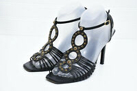 Christian Dior Italy Womens Sz 39 Leather Ankle Strap Rings High Heel Sandals