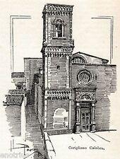 Corigliano Calabro: Chiesa. Cosenza. Calabria. Stampa Antica + Passepartout.1901