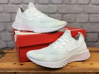 NIKE MENS UK 8 EU 42.5 WHITE EPIC REACT FLYKNIT RUNNING TRAINERS RRP £130