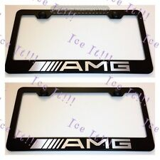 "2X ""Mercedes"" AMG Stainless Steel Black License Plate Frame Rust Free W/ Caps"