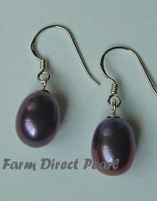 Genuine Peacock Black Freshwater Pearl Dangle Drop Earrings Sterling Silver Hook